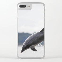 breaching dolphin Tursiops truncatus Clear iPhone Case