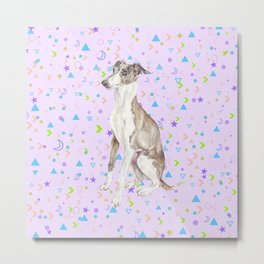 Italian Greyhound Watercolor Pet Portrait Metal Print