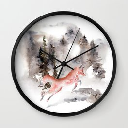 Fox Gamboling In The Mountain Mist Wall Clock