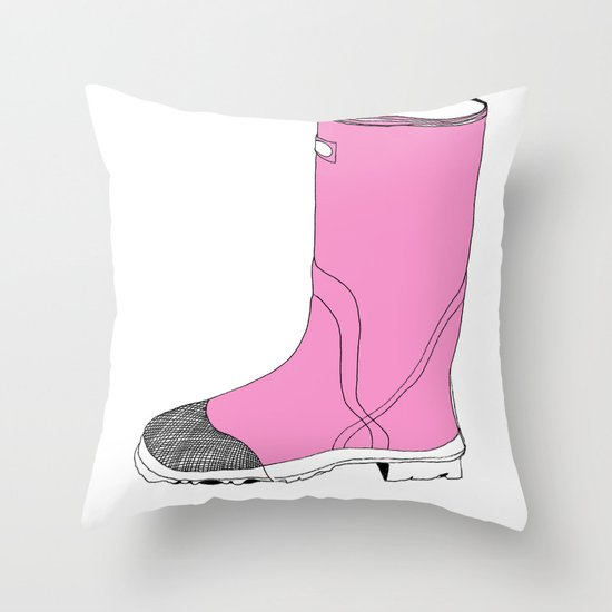 Whimisical Wellie in Pink Throw Pillow