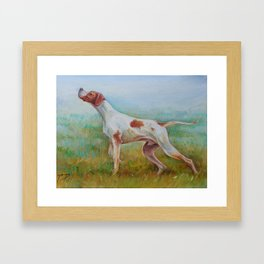 ENGLISH POINTER IN THE FIELD Classic hunting scene Landscape Framed Art Print