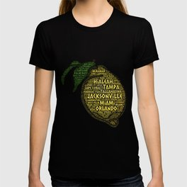 Citrus Fruit illustrated with cities of Florida State USA T-shirt
