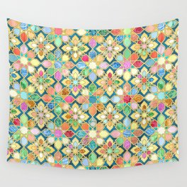 Gilded Moroccan Mosaic Tiles Wall Tapestry