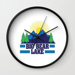 "California Bear A Symbol Of This Beautiful State ""Big Bear Lake"" T-shirt Design Mountains Sun Trees Wall Clock"