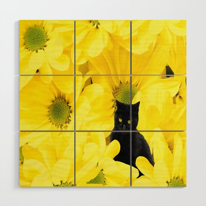 Black Cat Yellow Flowers Spring Mood #decor #society6 #buyart Wood ...