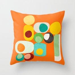 Geometric mid century modern orange shapes Throw Pillow
