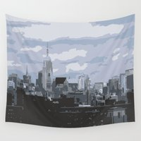 new york skyline Wall Tapestries featuring New York Skyline by Thee Xelerator