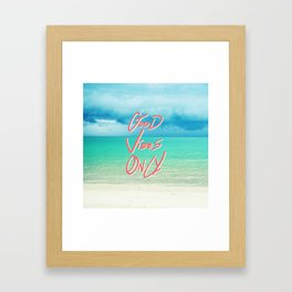"""Good Vibes Only""  Quote - Turquoise Tropical Sandy Beach Framed Art Print"