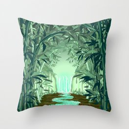 Fluorescent Waterfall on Surreal Bamboo Forest Throw Pillow