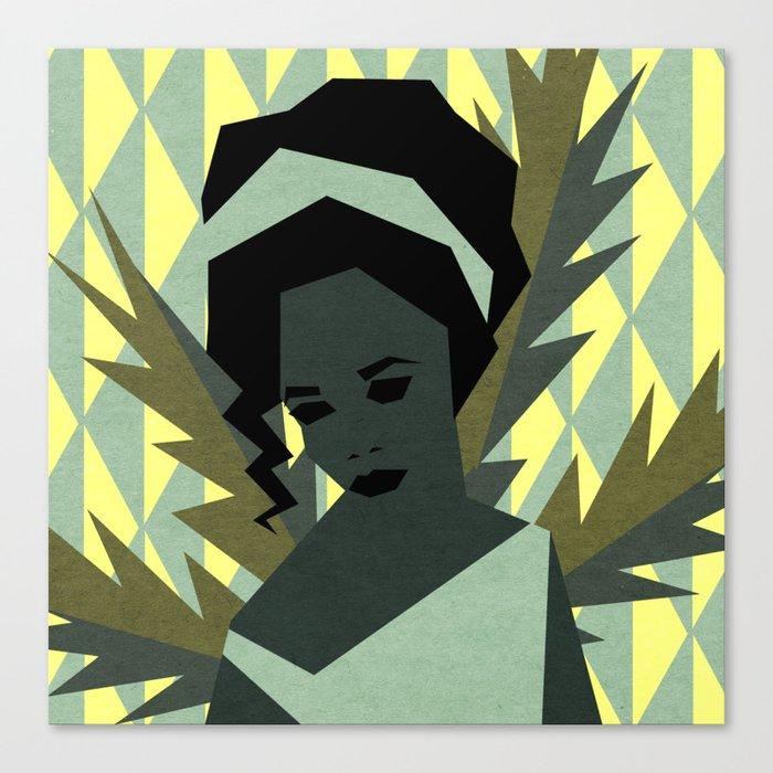 The shy girl Canvas Print