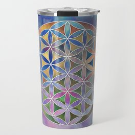 The Flower of Life in the Sky Travel Mug