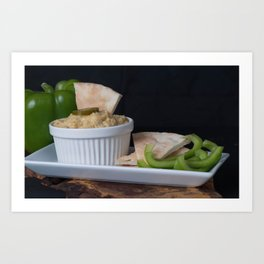 Hummus Pita Bread and Green Sweet Bell Peppers Art Print