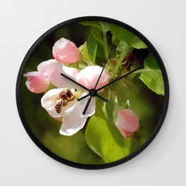 Apple Blossom and Bee Wall Clock