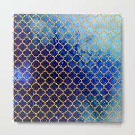 Moroccan magic blue watercolor Metal Print