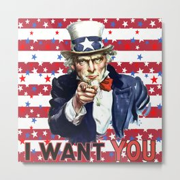 Uncle Sam I Want You With Stars and Stripes Background Metal Print