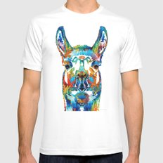 Colorful Llama Art - The Prince - By Sharon Cummings Mens Fitted Tee MEDIUM White