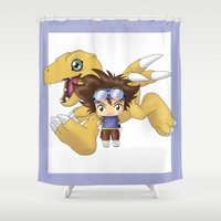 digimon Shower Curtains featuring Chibi Tai by artwaste