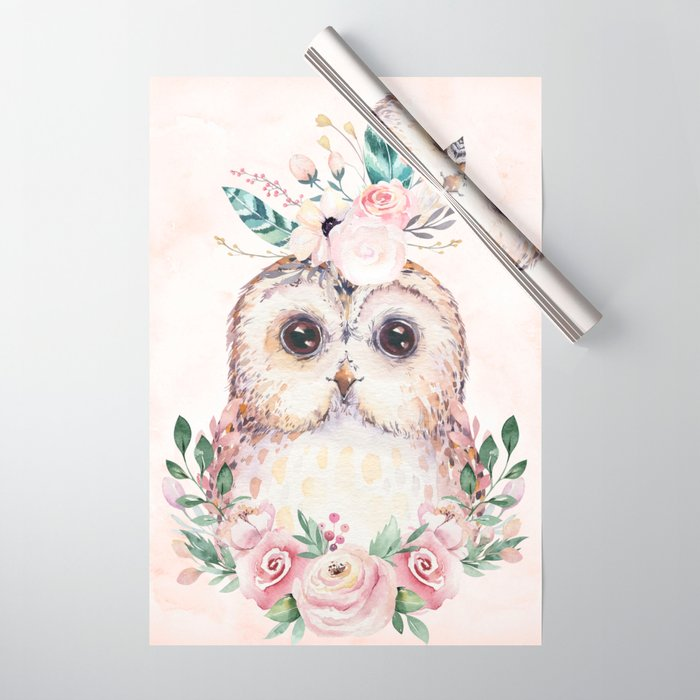 Forest Owl Floral Pink by Nature Magick Wrapping Paper