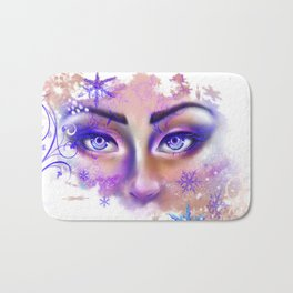 snow beautiful winter snowflakes eyes girl Bath Mat