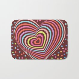 multi-colored rainbow heart on dark brown background. 3D Bath Mat