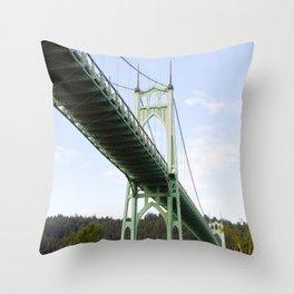 St John's Bridge Portland Throw Pillow