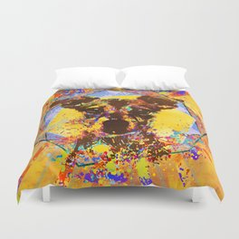 Jack Russell Terrier Abstract Mixed Media Duvet Cover