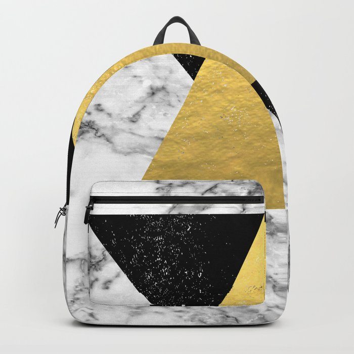 Delph - abstract triangles and marble painting gold black and white minimalist nursery dorm college Backpack