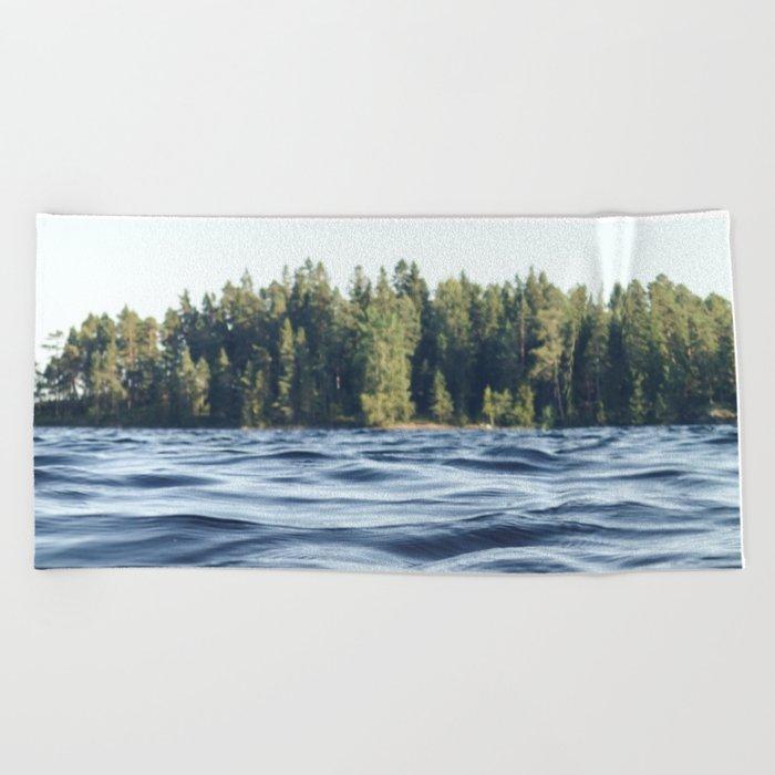 Summer Forest Lake Beach Towel