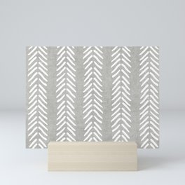 Mud cloth - Grey Arrowheads Mini Art Print