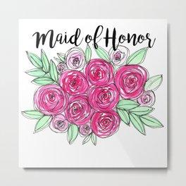 Maid of Honor Wedding Pink Roses Watercolor Metal Print