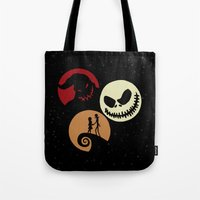 nightmare before christmas Tote Bags featuring Nightmare Before Christmas by Linda V.