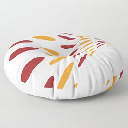 BROWN AND ORANGE DOTS  ON A WHITE BACKGROUND Abstract Art Floor Pillow