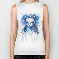 """space cat Biker Tanks featuring """"Space cat"""" by PeeGeeArts"""