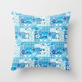 New Hawaiin Motif in Blue Throw Pillow