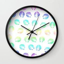 Modern summer mermaid watercolor neon gradient seashells pattern Wall Clock