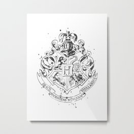 Hogwarts Crest Black and White Metal Print