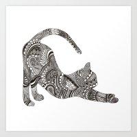 Downward Stretch Cat Art Print