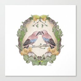 Watercolor Woodland Birds Jays in a Forest Plants , Blackberries Ivy and Fungi Mushroom Frame Canvas Print