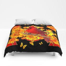 BUTTERFLIES  RED CARDINAL SUNFLOWERS BLACK ART Comforters