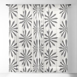 Black snowflake on light beige pattern Sheer Curtain