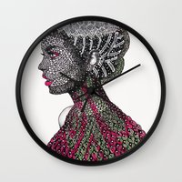camouflage Wall Clocks featuring Camouflage  by Luna Portnoi