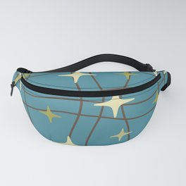 Mid Century Modern Cosmic Star Pattern 693 Beige Brown Olive and Blue Fanny Pack