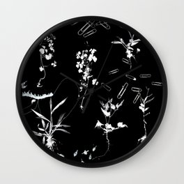Plants & Paper clips Photogram Wall Clock