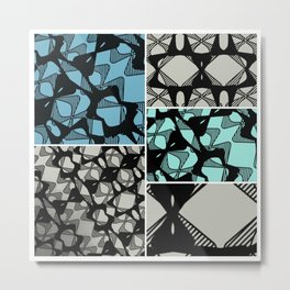 DISTORTION AND PERCEPTION PATTERN  - LIGHT BLUE & TURQUOISE Metal Print