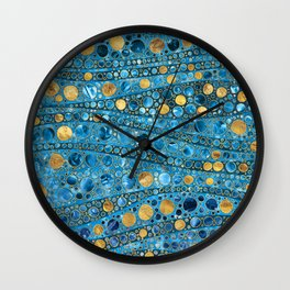 Dot Art Waves - Blue Gemstone and Gold Wall Clock