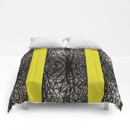 Gothic tree striped pattern mustard yellow Comforters