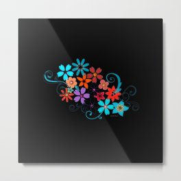 Colorful Flowers on black background Metal Print