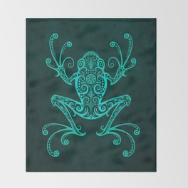 Intricate Teal Blue Tree Frog Throw Blanket