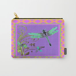 Ornate Blue Dragonflies Pink-Yellow-Purple Lattice Pattern Carry-All Pouch