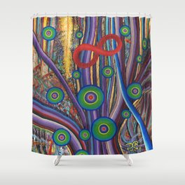 Gold Feather Shower Curtain